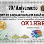 Diplom k 70. výročí španělského radioklubu